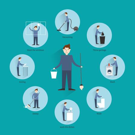 Concepto con la gente pasar la aspiradora tirando basura lavado los platos iconos ilustración vectorial Limpieza