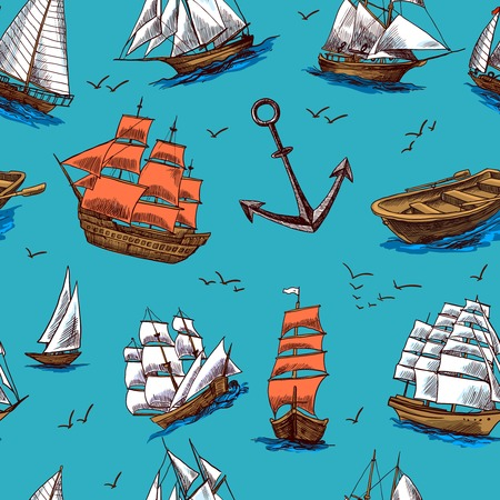 old boat: Sailing tall ships old wooden yachts boat and anchors colored sketch seamless pattern vector illustration Illustration