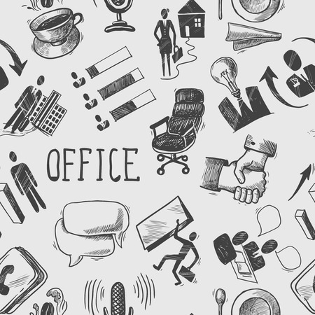 human hands: Office business sketch black and white seamless pattern with coffee cup handshake chart vector illustration