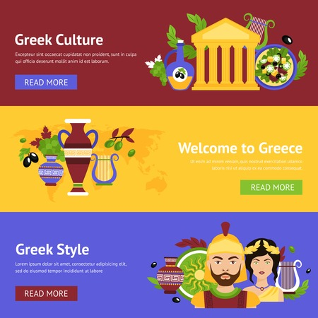 Greece horizontal banner set with greek culture style isolated vector illustration.