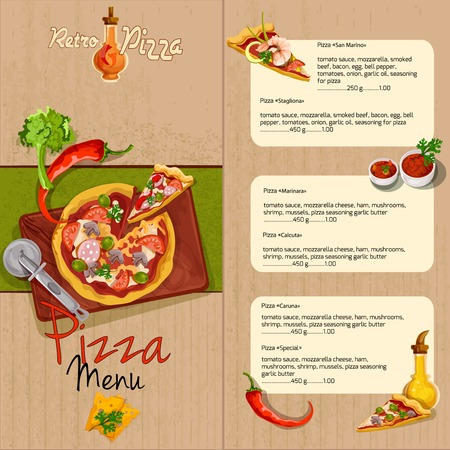 pizza: Plantilla Pizzeria men� del restaurante de pizza con aceite de ingredientes y condimentos ilustraci�n vectorial. Vectores