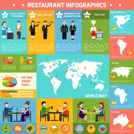 commercial kitchen: Restaurant infographic set with employees charts and world map in the middle vector illustration