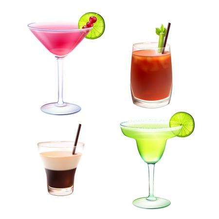 칵테일 알코올은 국제 피의 메리 B-52 마가리타 격리 된 벡터 일러스트 레이 션 설정 현실적인 장식 아이콘 음료 일러스트