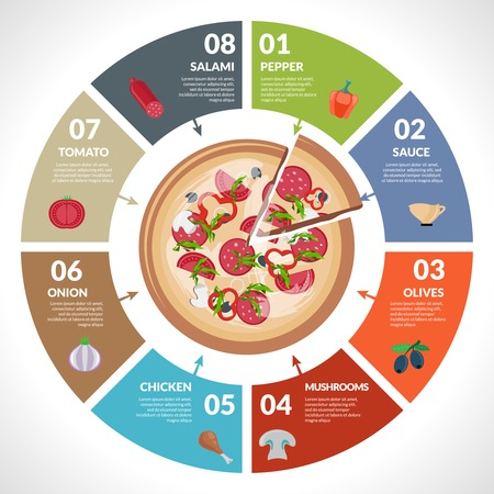 Pizzeria hot pizza fresh ingredients infographics set with pie chart vector illustration. Illustration