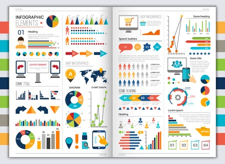 Flat paper infographic set with charts and bookmarks title and heading elements vector illustration
