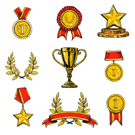 Award decorative sketch colored icons set of laurel wreath achievement star isolated vector illustration Vector