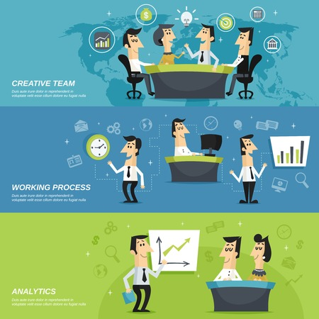 work on computer: Office work team creative planning strategy and analytic results presentation horizontal banners set abstract isolated vector illustration Illustration