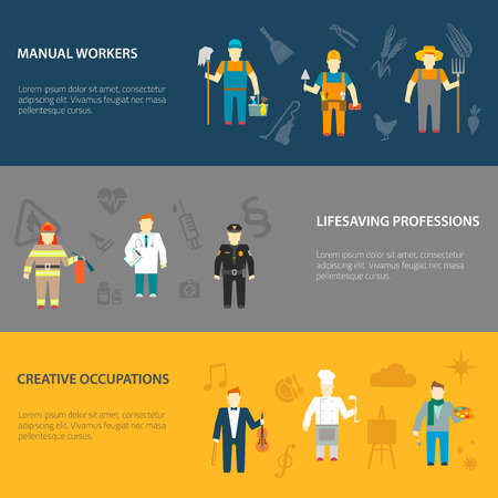swab: Profession cartoon male characters horizontal banners set of manual creative and lifesaving occupations abstract isolated vector illustration
