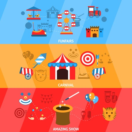 Amusement park flat horizontal banner set with funfairs carnival amazing show isolated vector illustration Vector