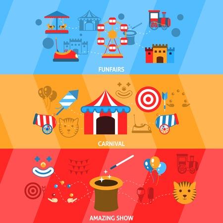 Amusement park flat horizontal banner set with funfairs carnival amazing show isolated vector illustration Illustration