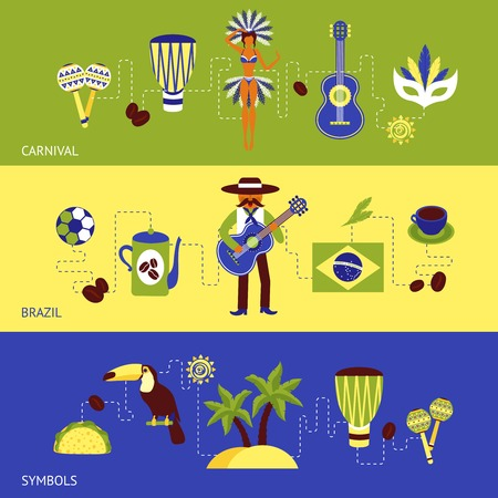 maracas: Brazil banner set with carnival and tourism symbols isolated vector illustration