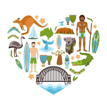 australia: Australia travel tourism and landmarks decorative icons set in heart shape vector illustration Illustration