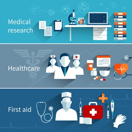 staffs: Medical flat banners set with research healthcare first aid symbols isolated vector illustration