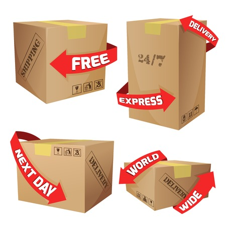 order shipping: Cardboard boxes set with red arrows and delivery symbols isolated vector illustration Illustration