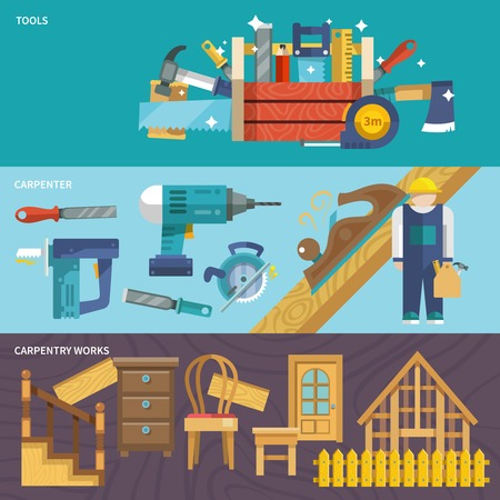 Carpentry works flat banners set with tools carpenter isolated vector illustration