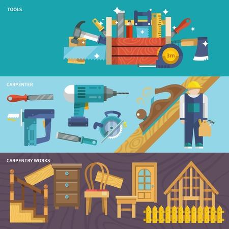 Zimmerarbeiten Flach Banner mit Werkzeug Zimmermann isolierten Vektor-Illustration gesetzt Standard-Bild - 35958009