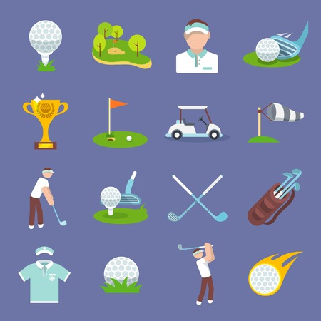 golf tee: Golf sport icon flat set with golfer flag ball lawn isolated vector illustration
