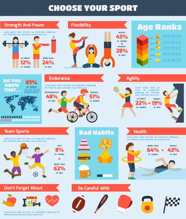 Sports infographics set with people training healthy physical activity charts vector illustration