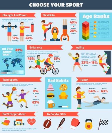 Sport infographics set met mensen opleiden gezonde lichamelijke activiteit grafieken vector illustratie Stockfoto - 35958013