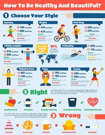 Infographies fitness serties de gymnastique et de sport de formation exercices sains illustration vectorielle Banque d'images - 35958014