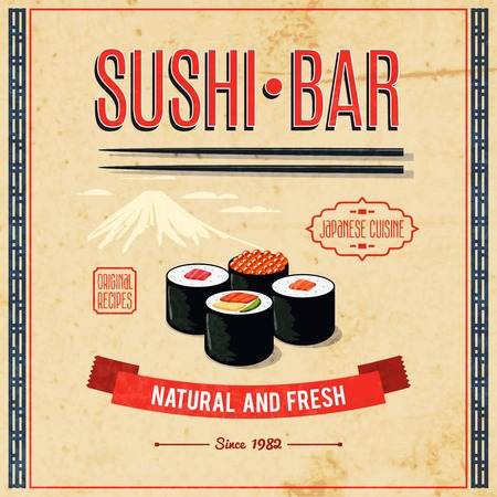 Asian food sushi bar natural and fresh japanese cuisine poster vector illustration