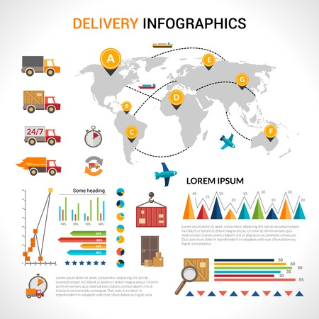 shipping supplies: Logistic chain shipping freight service supply delivery infographics set with charts and world map vector illustration