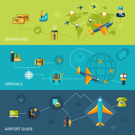 air traffic: Airport flat banners set with departure arrival guide elements isolated vector illustration Illustration