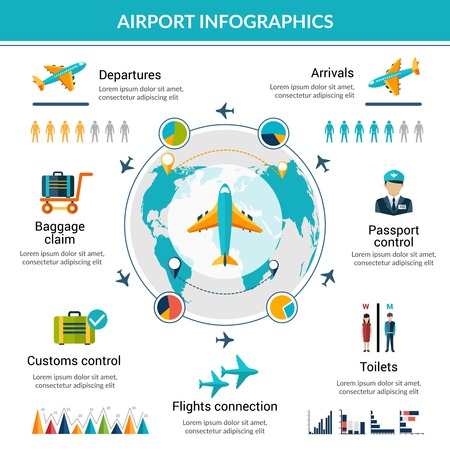 Airport infographic set with security control air vehicle symbols and charts vector illustration Çizim