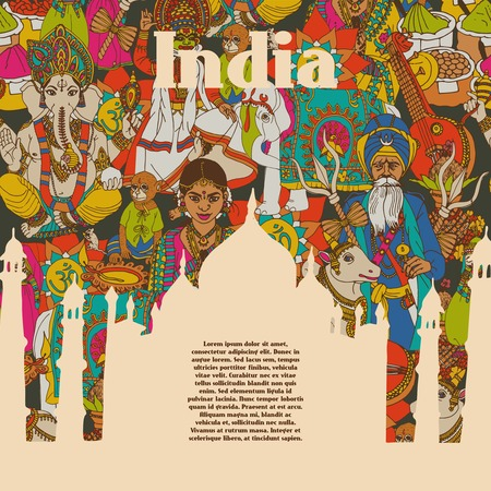 india people: Idian spiritual and cultural symbols of religion folk costumes and spicy cuisine print poster abstract vector illustration