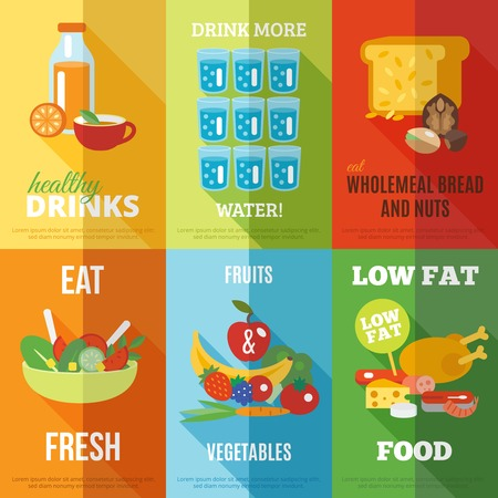 wholemeal: Healthy eating mini poster set with water drinks wholemeal bread and nuts isolated vector illustration Illustration