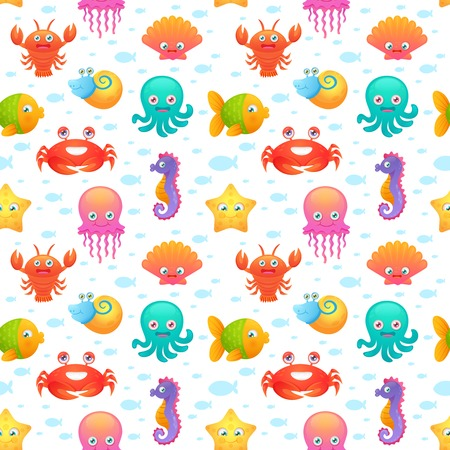 Cute collection of cartoon sea animals characters for children dormitory wallpaper decorative tileable abstract seamless vector illustration Vector