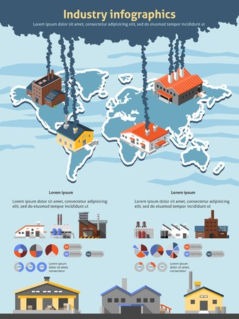 Industrial buildings factories industry infographics set with charts and world map vector illustration Vector