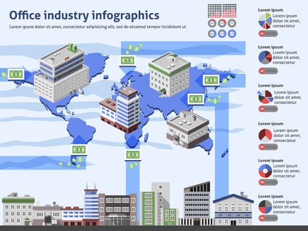 data center: Office industry infographics with business buildings world map and charts vector illustration