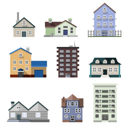 dwelling: Residential house dwelling flat buildings real estate decorative icons set isolated vector illustration Illustration