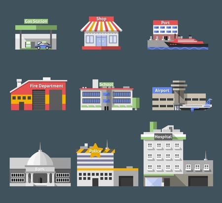 incendio casa: Edificios planos gubernamentales iconos decorativos establecen con aislados puerto tienda gasolinera ilustración vectorial
