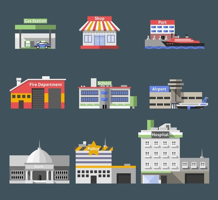 Government flat buildings decorative icons set with gas station shop port isolated vector illustration Illustration