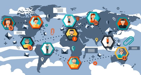 world  hexagon: Social network infographics with hexagon people avatars and world map vector illustration
