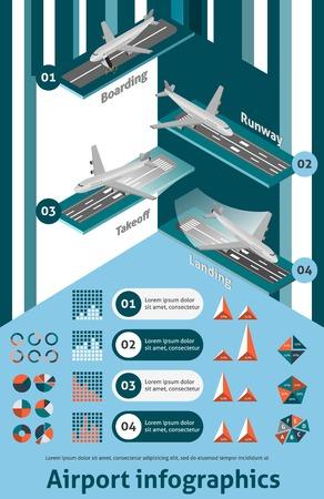 Luchthaven infographic set met isometrische boarding landingsbaan opstijgen landing elementen en grafieken vector illustratie
