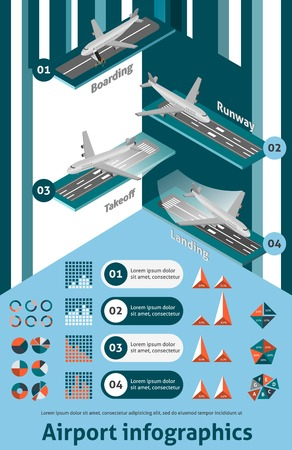 Airport infographic set with isometric boarding runway takeoff landing elements and charts vector illustration