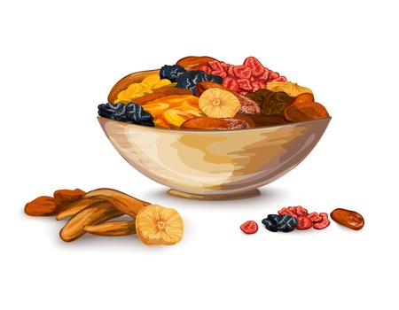 prune: Dried fruits bowl composition with prune banana dried apricot vector illustration