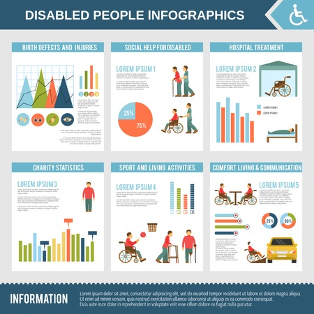 defects: Disabled infographics set with social help hospital treatment and charts vector illustration Illustration