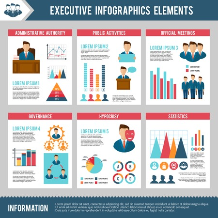 Executive infographics set with management human resources and charts vector illustration