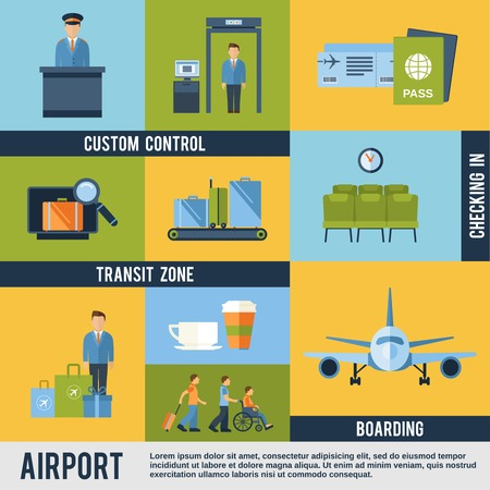 airport security: Airport icons decorative set with custom control transit zone boarding checking in isolated vector illustration
