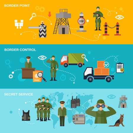 military watch: Border guard banner set with point control secret service isolated vector illustration