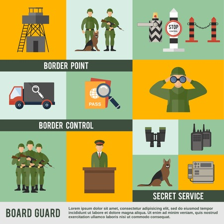 Border guard icon flat set with secret service control point isolated vector illustration