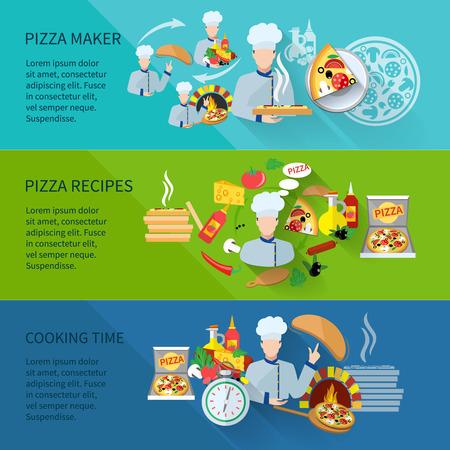 Banner horizontal pizzero plana conjunto con aisladas tiempo recetas de cocina ilustración vectorial
