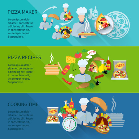 cooking time: Pizza maker flat horizontal banner set with recipes cooking time isolated vector illustration