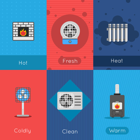 coldly: Heating and cooling mini poster set with hot fresh coldly clean warm air signs isolated vector illustration