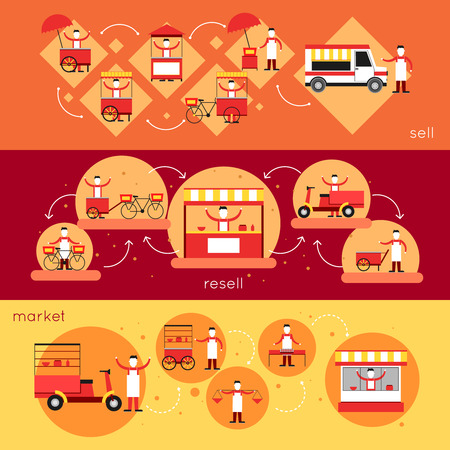 Street food horizontal banner set with sell resell market elements isolated vector illustration Vector