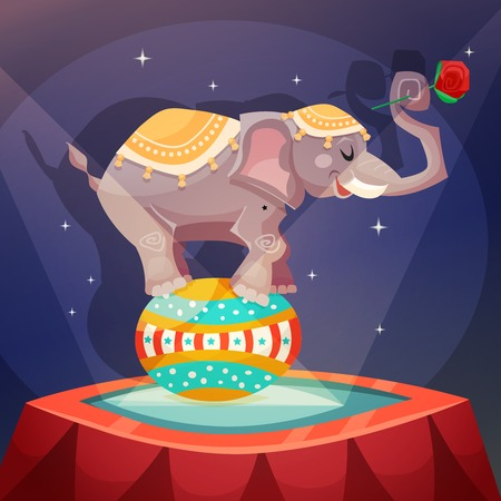 acrobat: Circus vintage poster with elephant acrobat balanced on ball vector illustration